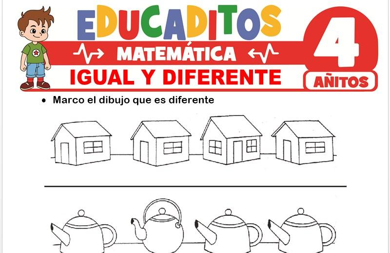 Igual y Diferente para Niños de 4 Años