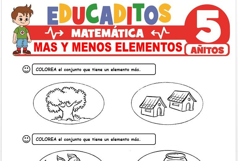 Más y Menos Elementos para Niños de 5 Años
