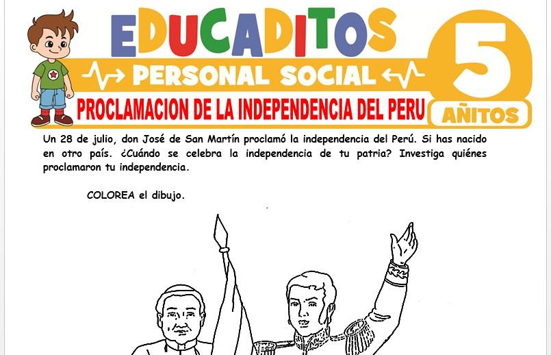 Proclamación de la Independencia del Perú para Niños de 5 Años